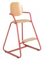 Chaise-haute-enfant-pietement-rouge