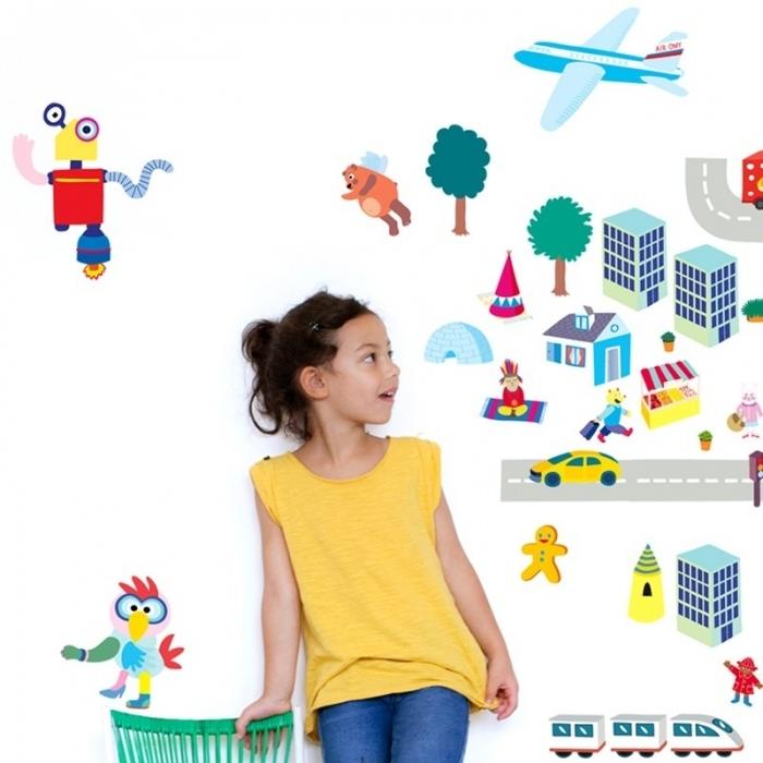 idee-deco-chambre-enfant-gommettes-robot