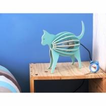 Lampe-a-poser-chat-bleu-bois