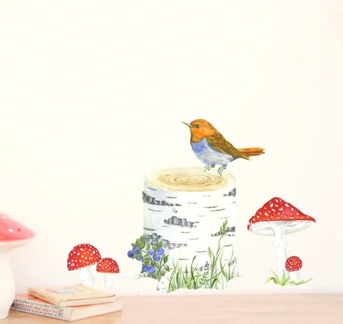 Sticker-Tronc-oiseau-champignons-aquarelle