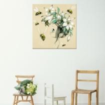 Wild-girl-tableau-sur-toile-abeille-fleurs