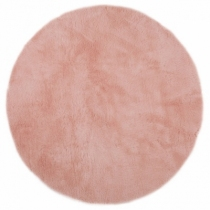 tapis-fausse-fourrure-rond-rose-poudre