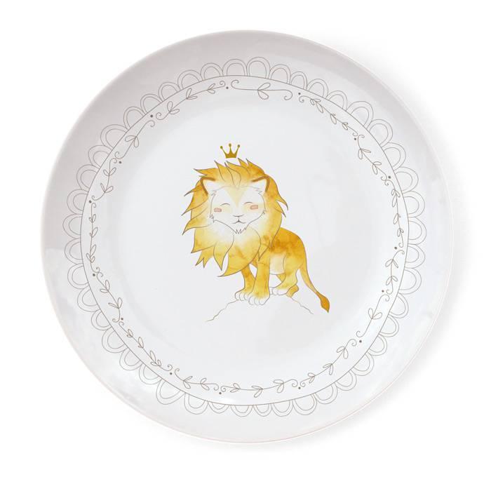Assiette-Porcelaine-Illustration-Lion