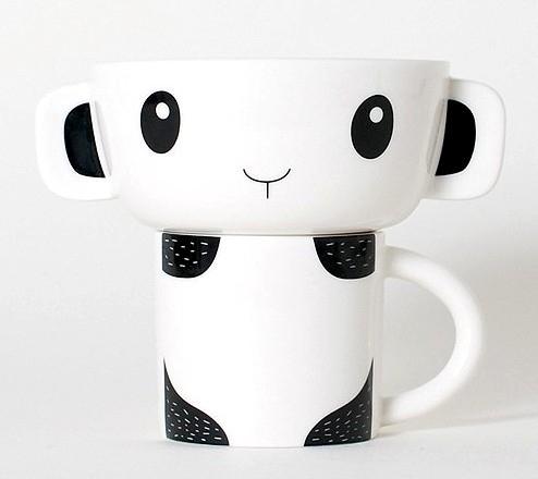 Bol et tasse assemblés Panda