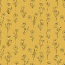 lilipinso-camomille-fond-jaune-papier-peint