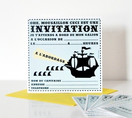 cartes d 39 invitation pirate pour anniversaire enfant. Black Bedroom Furniture Sets. Home Design Ideas