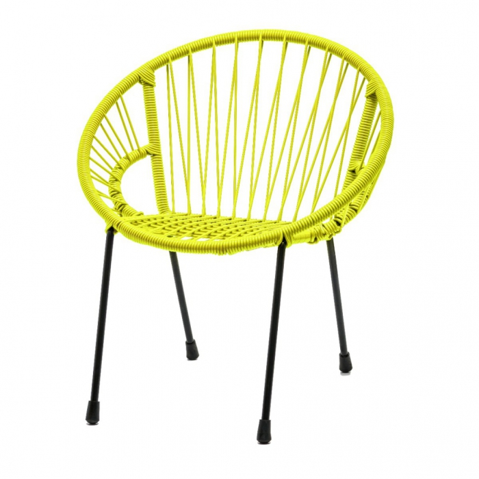 chaise en scoubidou tress pour enfant mod le jaune fluo. Black Bedroom Furniture Sets. Home Design Ideas