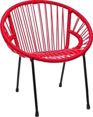 Chaise en scoubidou tress pour enfant mod le rouge for Chaise enfant scoubidou