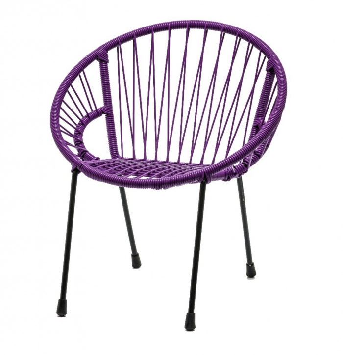 chaise en scoubidou tress pour enfant mod le violet. Black Bedroom Furniture Sets. Home Design Ideas