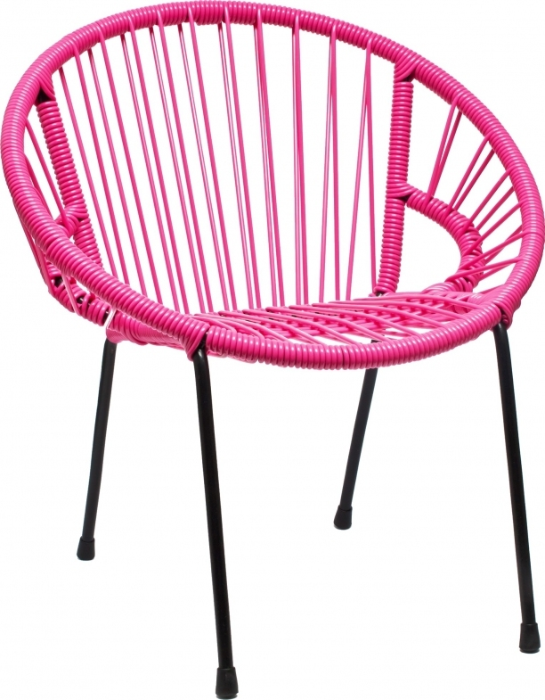 Chaise en scoubidou tress pour enfant mod le rose for Chaise en fil scoubidou
