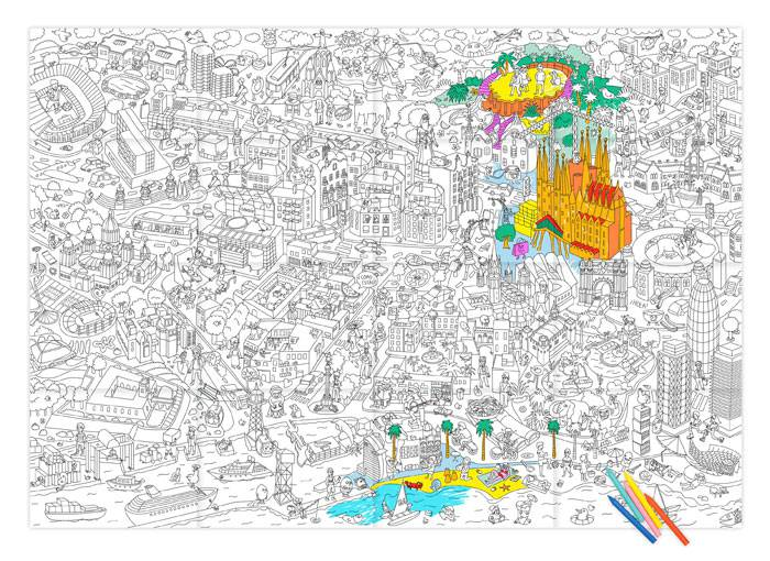 poster-ville-barcelone-coloriage-omy