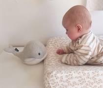 Doudou battement de coeurs - Baleine gris clair - Flow