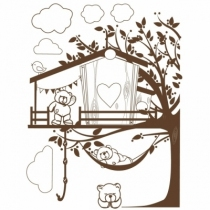 Sticker-geant-cabane-ourson