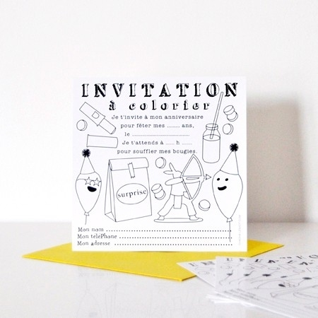 cartes d 39 invitation colorier pour anniversaire enfant. Black Bedroom Furniture Sets. Home Design Ideas