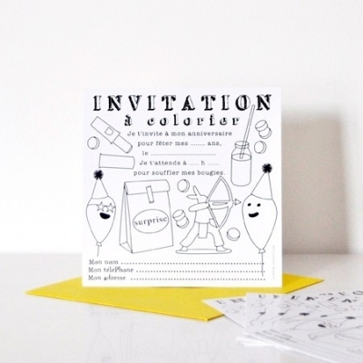 Coloriage Invitation Anniversaire.Invitations A Colorier Lot De 8