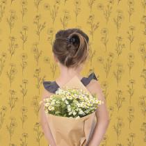 papier-peint-camomilles-fond-jaune