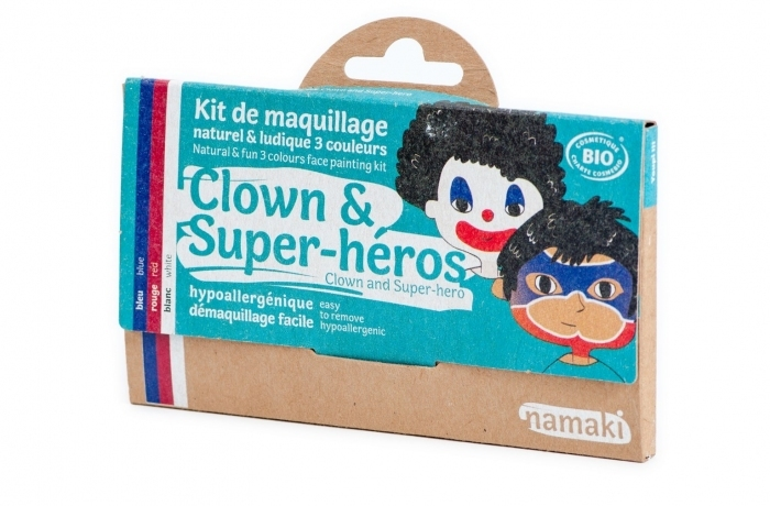 Maquillage-bio-pour-enfant-deguisement-clown-super-hero