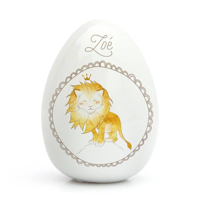 Oeuf Porcelaine de Limoges - Lion