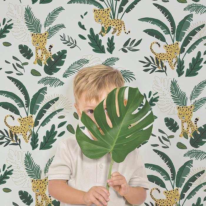 papier-peint-theme-jungle-guepards