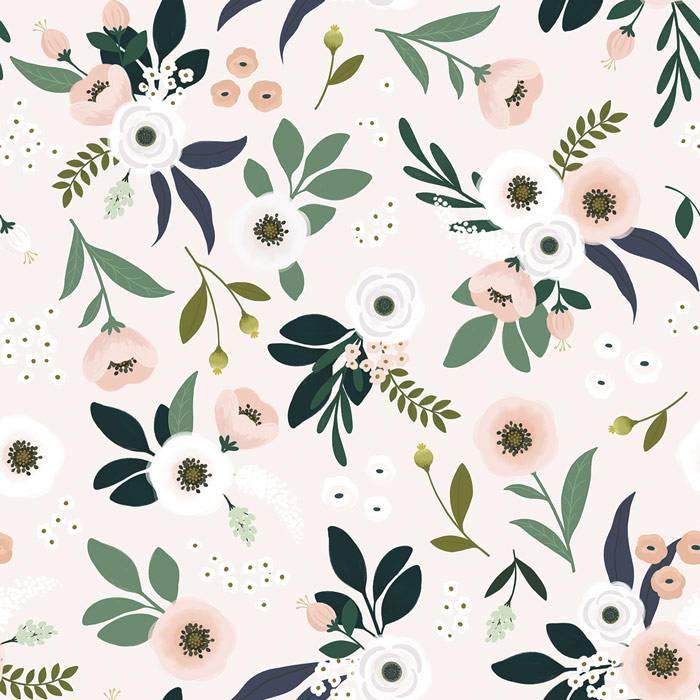 papier-peint-floral-rose-pale