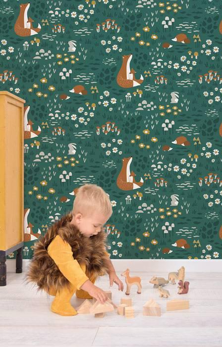 papier-peint-chambre-enfant-motif-foret