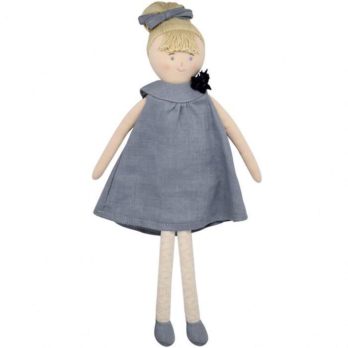 Poupée Robe Lin Bleu gris 30 cm