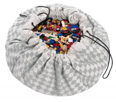 tapis de jeux et sac de rangement losanges gris. Black Bedroom Furniture Sets. Home Design Ideas