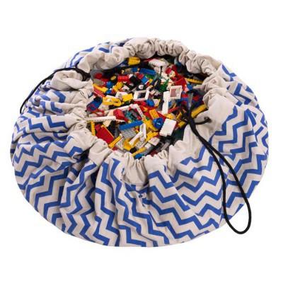 tapis de jeux et sac de rangement zigzag bleu. Black Bedroom Furniture Sets. Home Design Ideas