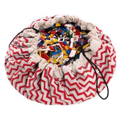 tapis de jeux et sac de rangement zigzag rouge. Black Bedroom Furniture Sets. Home Design Ideas