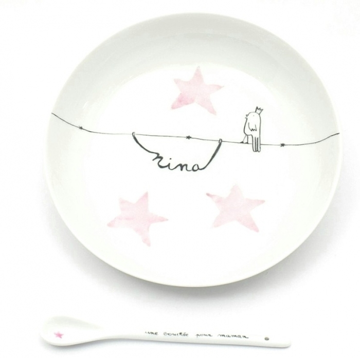 Assiette-ensemble-naissance-porcelaine-oiseau-roi-fille-personnalisable