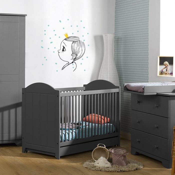 Sticker chambre enfant my little king for Chambre bebe gris bleu jaune