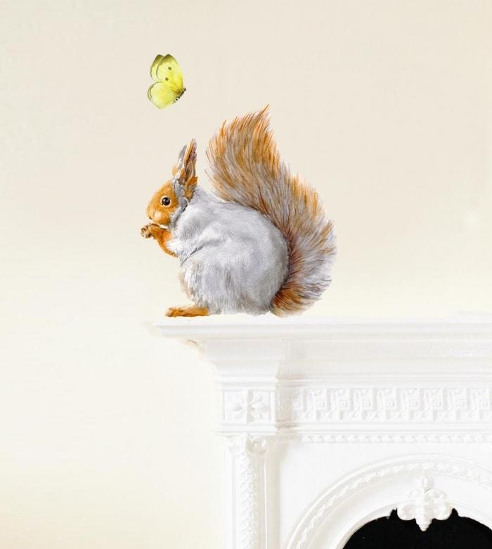 sticker-ecureuil-gris-papillon