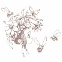 Sticker-fille-abeille-brun