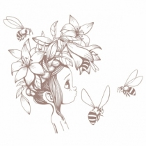 Sticker-fille-abeille-brun
