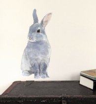 Sticker-mural-lapin-gris-aquarelle