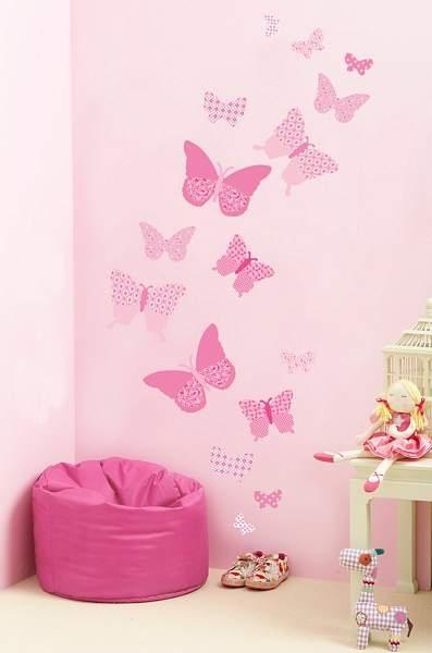 papillons-rose-vintage-sticker-chambre-enfant