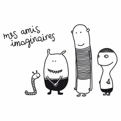 Sticker-enfant-noir-et-blanc-personnages-Bumoon