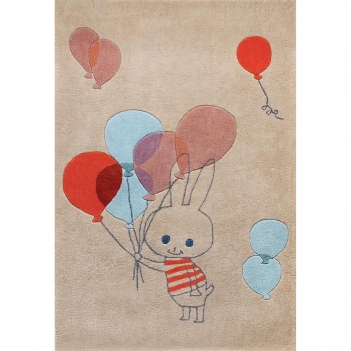Tapis chambre d\'enfant multicolore Balloon rabbit