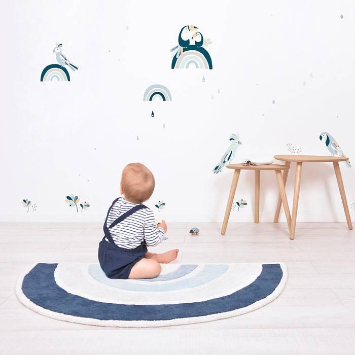 Tapis coton Arc-en-ciel Bleu - 120 x 70 cm