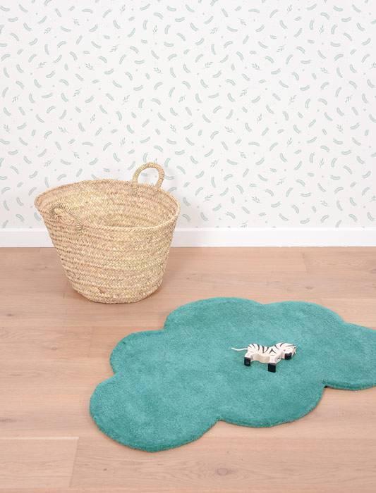 Tapis coton Nuage vert jungle