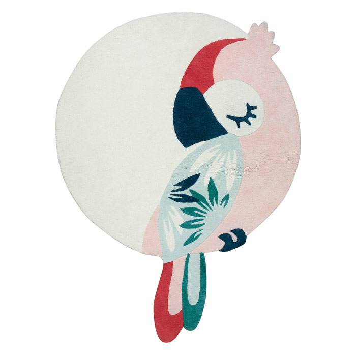 Tapis coton Perroquet Rose - 160 x 120 cm