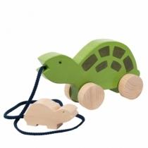 Jouet-a-tirer-tortue-bois