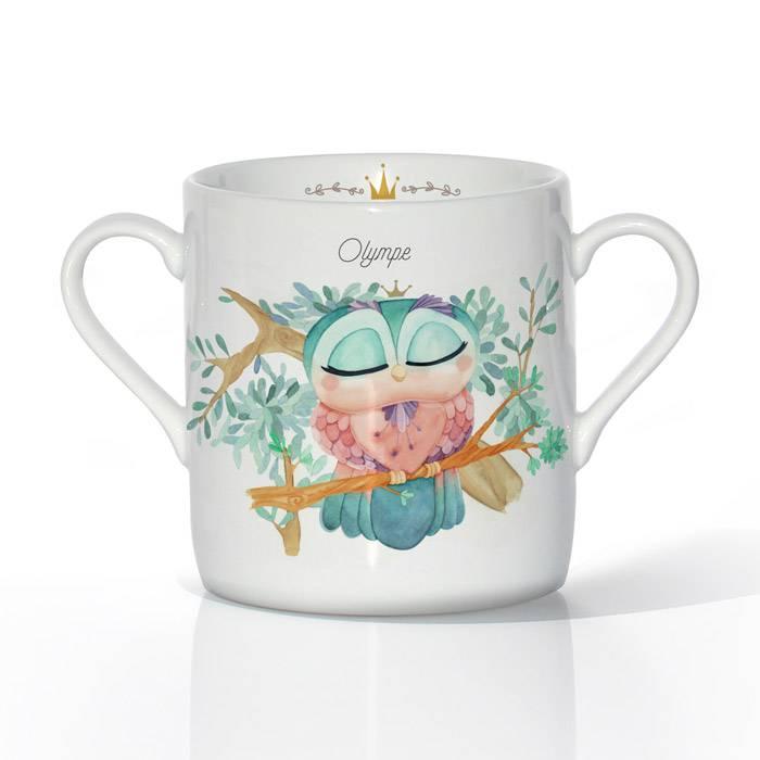 Tasse Porcelaine de Limoges - Chouette