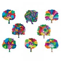 Tatouage-arbres-multicolores-lot-de-8
