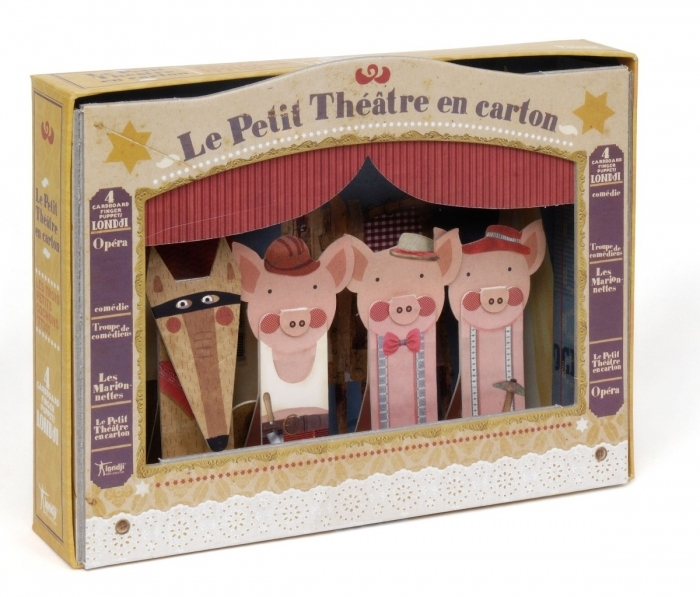 th tre de marionnettes 3 petits cochons en carton recycl. Black Bedroom Furniture Sets. Home Design Ideas