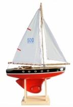 Voilier-bateau-Tirot-jouet-en-bois-coque-rouge